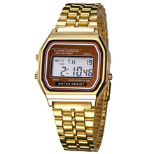 New Fashion  Elegant LED Digital Watch Men/ Women Retro Stainless Steel  Sports Stopwatch Military  Dress Sports Gold Stopwatch