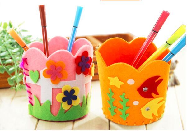 Детские развивающие diy ремесло головоломки комплект милый творческий ручки ручной работы контейнер DIY карандашница дети ремесло игрушка На...