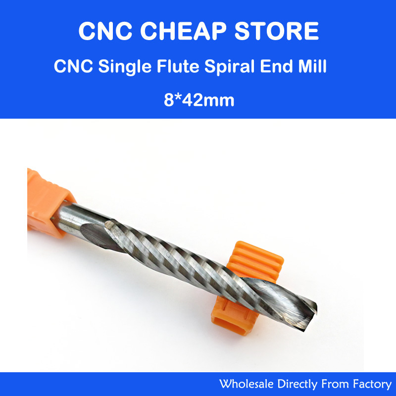 1pc 8mm SHK High Quality Carbide CNC Router Bits One Single Flute End Mill Tools 42mm 3pcs high quality cnc bits single flute spiral router carbide end mill cutter tools 6x22mm free shipping