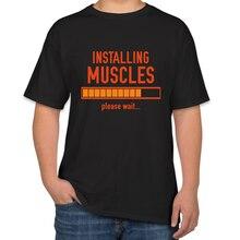 INSTALLING MUSCLES summer t shirt for men fashions Fashion Short Sleeve funny tshirt 4xl cool tops t-shirt men funny