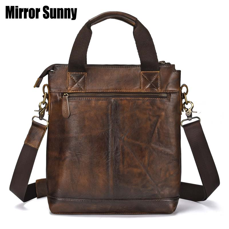 Men's Genuine Leather Briefcase Head Layer Cowhide Male Laptop Bag Natural Leather For Men Messenger Bags Vintage Man Briefcases