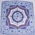 Синий Белый Малый Шелковый Шарф Печатных 2016 Новый Дизайн Модных Дамских Аксессуаров 53*53 см Квадратные Шарфы Для Весны лето Осень