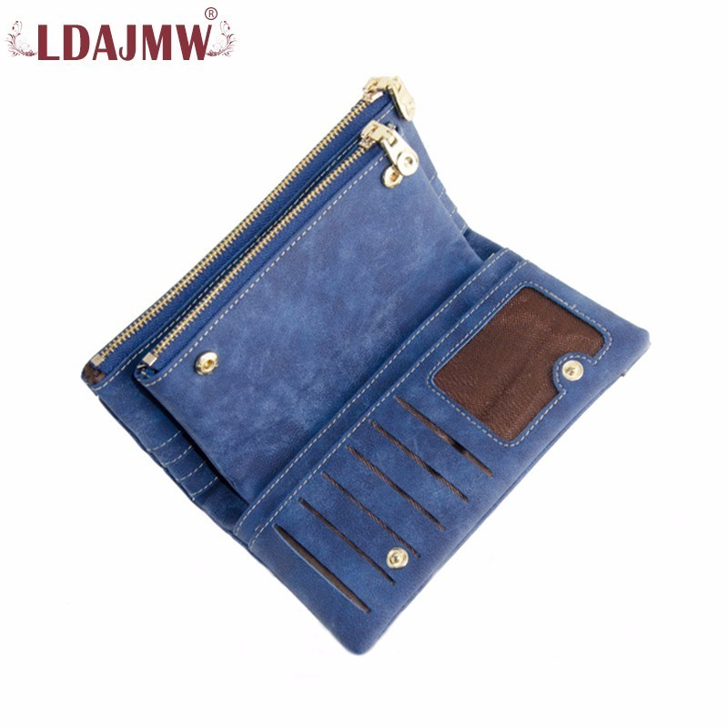 LDAJMW Fashion Luxury Brand Women Wallets Matte Leather Wallet Female Coin Purse Card Holder Clutch Bag Double Zipper Wallet women leather wallets v letter design long clutches coin purse card holder female fashion clutch wallet bolsos mujer brand