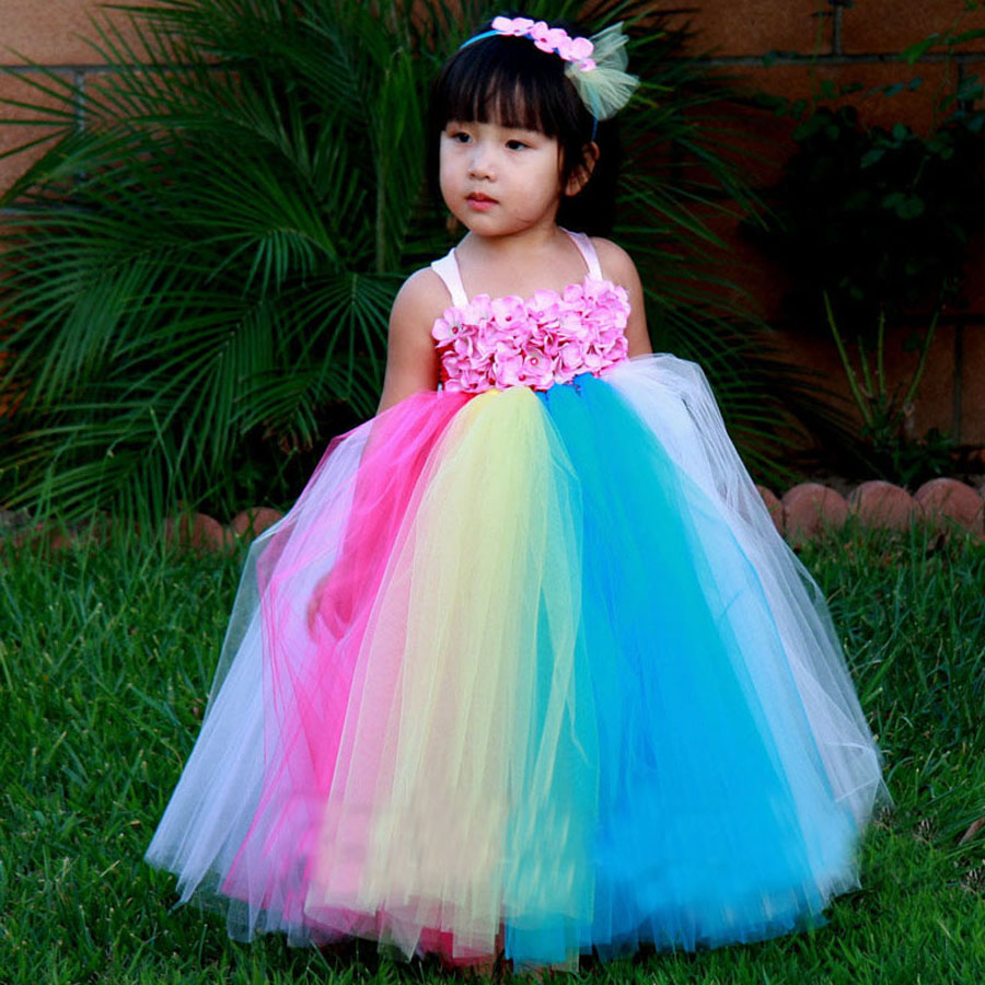 Handmade Flower Girl Dress Full Length Wedding Party Bridesmaid Rainbow Tutu Dress Photo Props Holiday Couture TS073 pocket full length tee dress