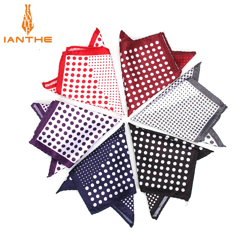 2018 Brand New Men's Handkerchief Vintage Dot Pocket Square Soft Silk Hankies Wedding Groom Party Hanky Chest Towel Pockets Gift