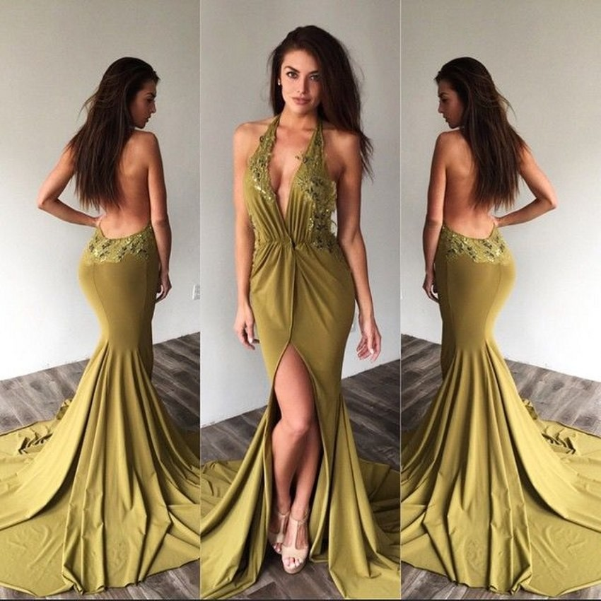 4cfc6659e72 Sexy Backless Prom Dresses Long Mermaid Prom Dresses 2017 New Style Halter  Appliques Lace Chiffon Evening Party Dress