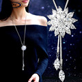 BYSPT Zircon Snowflake Long Necklace Sweater Chain Fashion Fine Metal Chain Crystal Rhinestone Flower Pendant Necklaces Adjusted