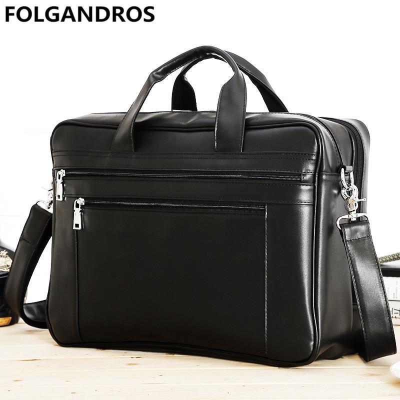 """Large Men/'s Leather 17/"""" Laptop Luggage Briefcase Messenger Shoulder Bag Satchel"""