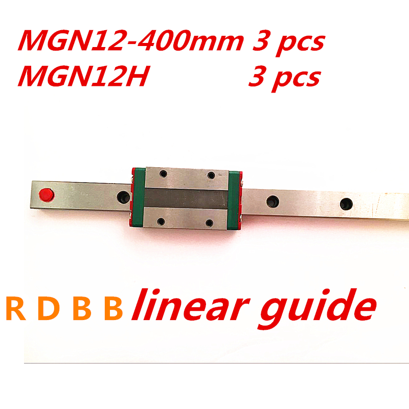 3 pcs Kossel Mini for 12mm Linear Guide MGN12 400mm linear rail MGN12H Long linear carriage