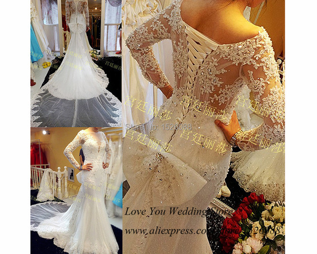 Amazing Long Sleeve Lace Wedding Dresses 2015 Mermaid Bridal Gown . af2c6411097a