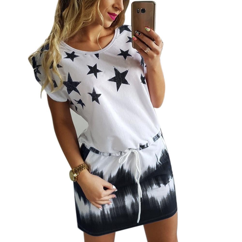 Neue Mode Sommer Kleid Frauen Casual Oansatz Druck Stern Mini Kleid Kurze Ärmel Taschen Gradient Shift Kleid Größe S-XXL