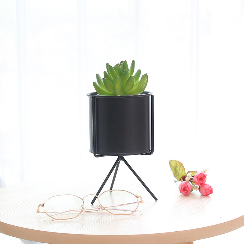 Hot Matte Ceramic Succulent Planter Cactus Flower Plant Pot with Iron Frame Stand for Home Decor FQ ing in Flower Pots Planters from Home Garden