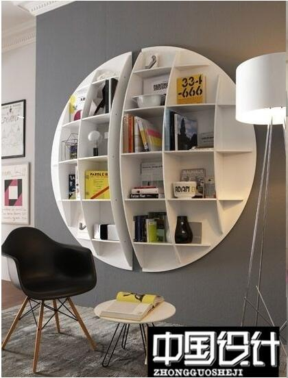 Estanter a de libros circular creativa alien pared estilo for Muebles para libros modernos