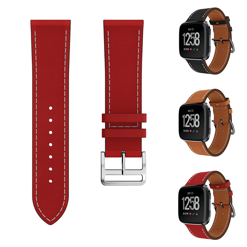 Fitbit Versa Bands Genuine Leather Replacement Watch Bands Wristband bracelet Wrist Straps for New Fitbit Versa Smart Watch band smart watch usb charging box cable for fitbit versa