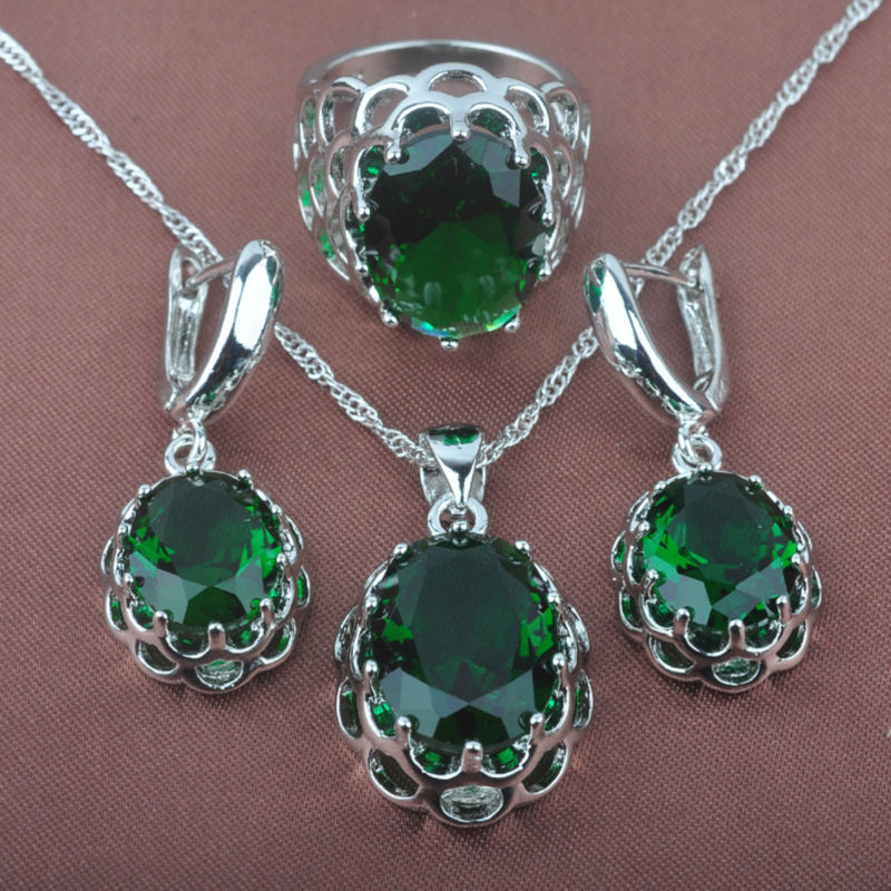 Quality Green Zirconia Stone Womens 925 Silver Jewelry Sets Necklace Pendant Earrings Rings Free Shipping TZ0162