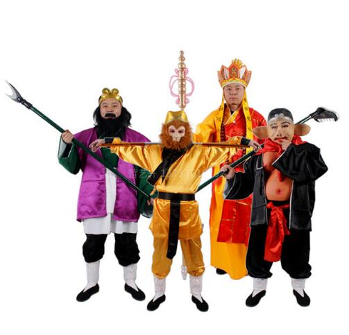 Chinese ancient classic story stage costumes of XI YOUXI Monkey King/Tang Seng/Sha Seng role play for Women/Men/Kids