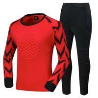 New Kids Men Soccer Goalkeeper Sets Survetement Football Jerseys Suit Sponge Protector Football Goalkeeper Training Uniforms