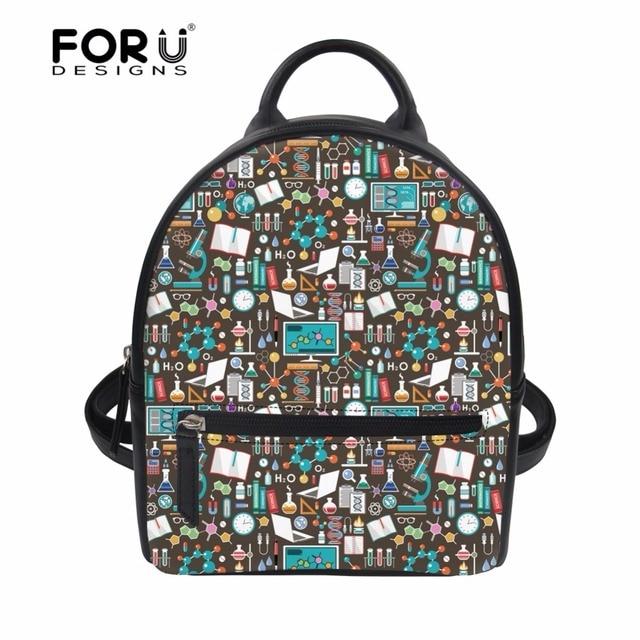 dea44da68839 FORUDESIGNS Science Pattern School Backpacks for Teenage Girls Stylish PU  Leather Small Women Backpack Student School Bag Bolsa