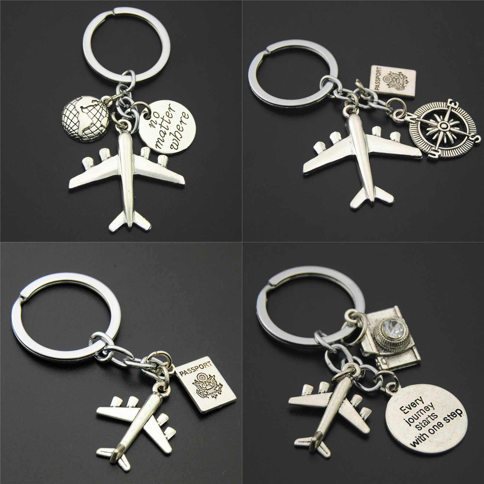1pc Earth Airplane Keychains No Matter Where Pendant Travel Keyring Friendship Handmade Jewelry Diy Gift For Traveler