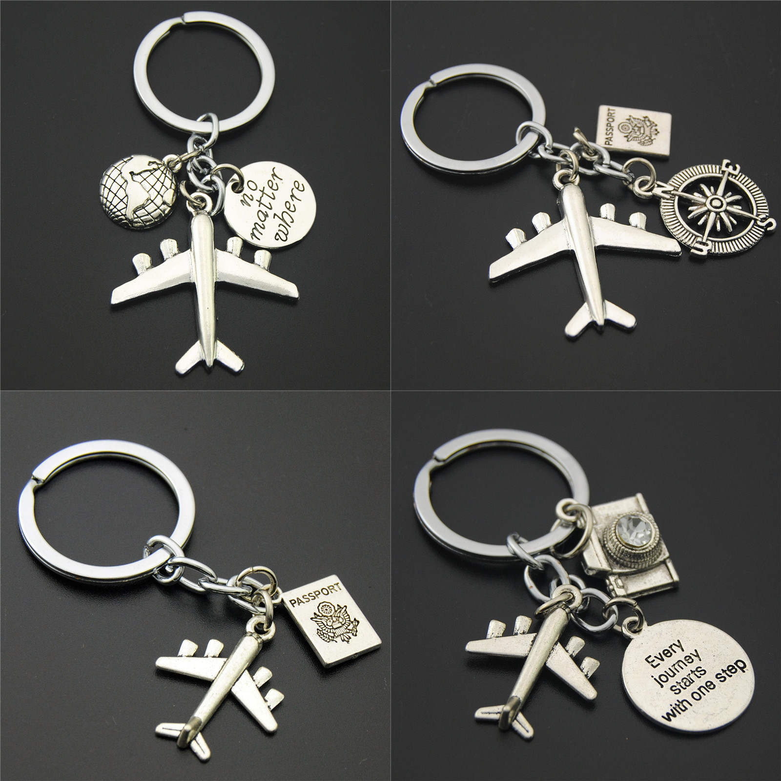 1pc Earth Airplane Keychains No Matter Where Pendant Travel Keyring Friendship Handmade Jewelry Diy Gift For Traveler image