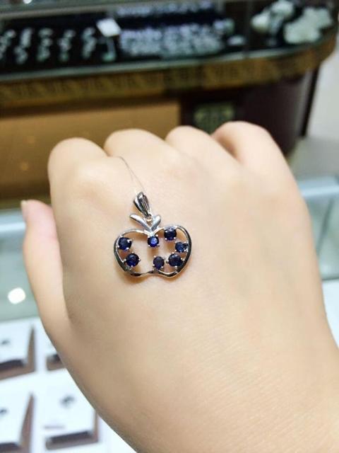 Natural azul zafiro piedra colgante S925 Collar de plata Colgante de Piedras Preciosas Naturales elegante fruta Encantadora mujeres de joyería fina
