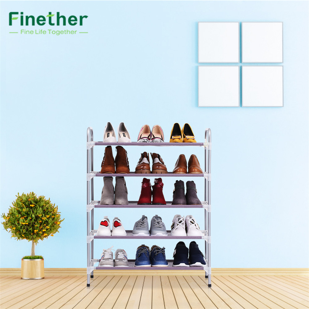 Finether Stackable Adjustable 5 Tier Shoe Rack Shoe Tower Shelving Stand  Shelf Shoes For Organizer