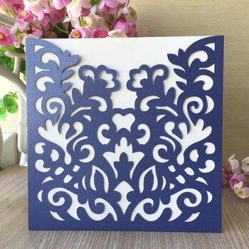 30Pcs Laser Cut Navy blue Pearl paper Pocket Design Wedding Invitation Card Birthday Party Greeting Invitation Card Suppliers