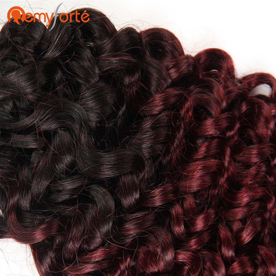 Remy Forte волосы бразильские кудрявые большой объем натуральных волос для плетения без Уток Бесплатная доставка 10 до 30 дюймов косички пряди волос Омбре 99J