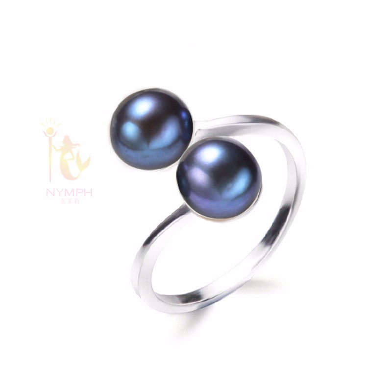 NYMPH Pearl Rings Jewlery Natural Freshwater Pearl Double Trendy Rings Wedding Bands Party Birthday Gift For Girl Women R028