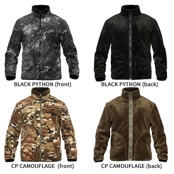 Outdoor sport hiking men fleece jacket Thermal winter Double sided wear Thick fleece cardigan camouflage liner tactical jacket