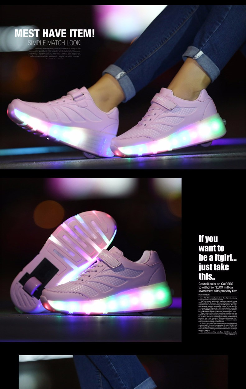 tenis de led infanti Kids Roller Shoes Boys Girls Light Up Glowing Sneakers with Wheels High Quality Popular 3