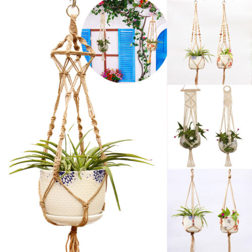 Hanging Baskets Power Source Hot Sale Plant Hangers Indoor Wall Hanging Planter Holder Basket Flower Pot Holder Handmade Cotton Rope 4 Legs Boho Home Decor Diversified Latest Designs