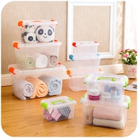 Food grade transparent portable storage box with a lid, clothing toys snacks storage box
