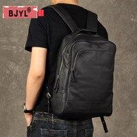 BJYL оригинальный в стиле ретро из натуральной кожи Для мужчин рюкзак из коровьей кожи большой Ёмкость рюкзак Для мужчин ноутбук рюкзак бизне