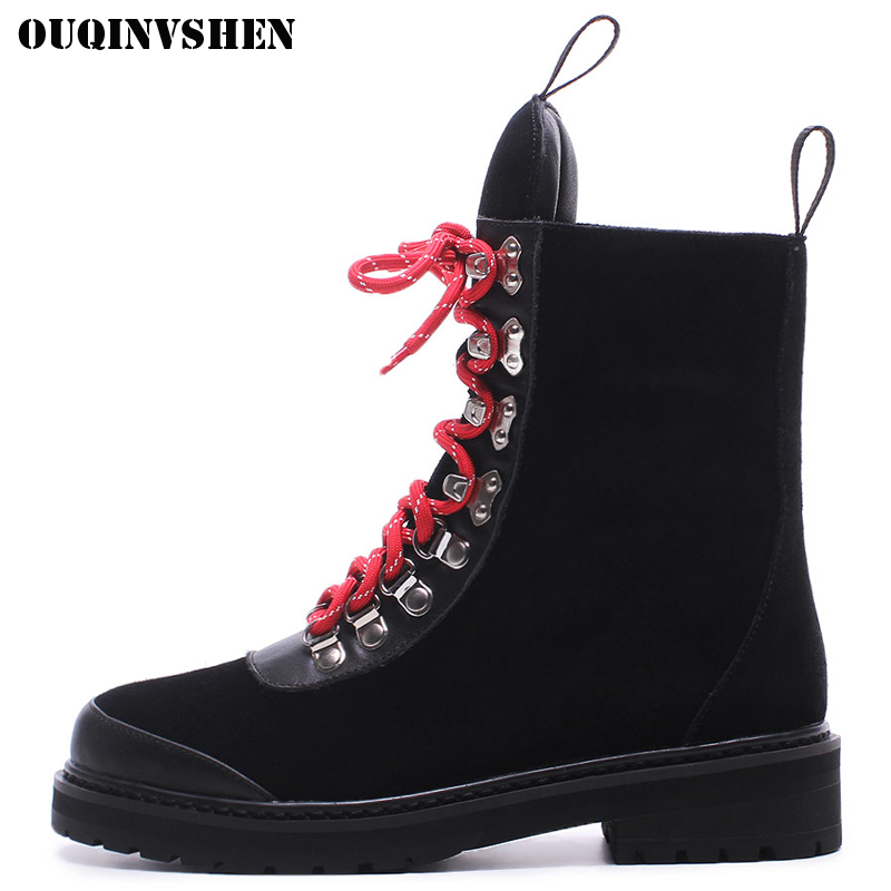 OUQINVSHEN Round Toe Lace Up Women Boots Fashion Mixed Colors Women Ankle Boots New Winter Short Plush Cross Tied Ladies Boots ouqinvshen round toe lace up women boots fashion mixed colors women ankle boots new winter short plush cross tied ladies boots