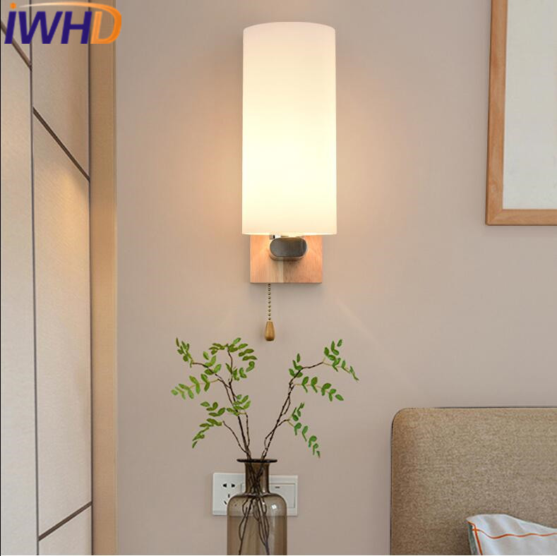 IWHD Modern Wall Light LED For Home Lighting Fixtures Creative Glass Wall Lamp Fashion Wood Sconce Bedroom Lamparas de pared 2 lights modern creative metal wall light simple glass shade wall sconces fixtures lighting for hallway bedroom bedside wl282 2