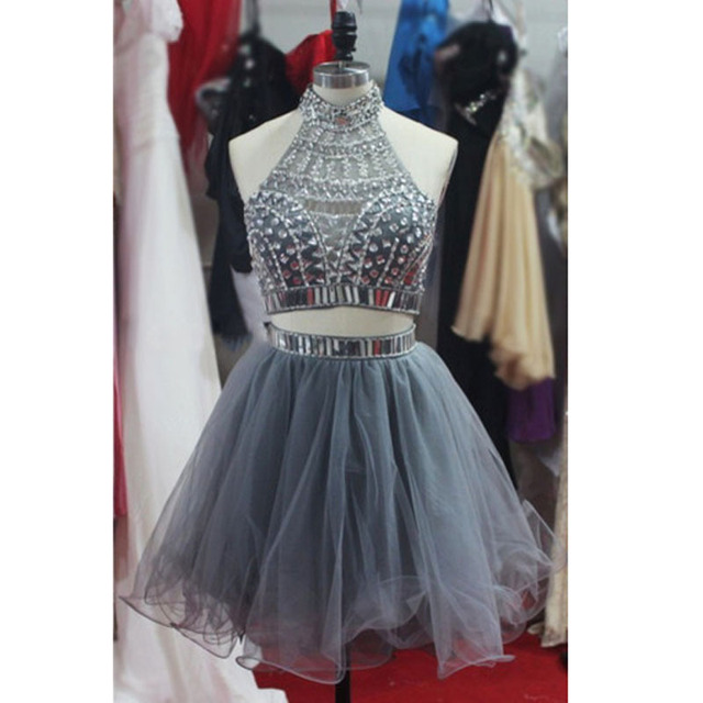 6452cb50307 Sexy Halter Neckline Homecoming Dresses 2016 Beaded Sequins Gray Tulle  Draped A Line 2 Pieces Backless Short Prom Party Dresses