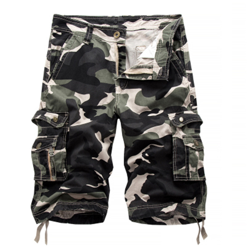 2018 New Summer Khaki Camouflage Cargo Shorts Men Loose short trousers bottoms Mens Military Short Pants Casual Man 29-40