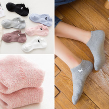 Spring and summer new cotton women's solid color boat socks sweat invisible socks