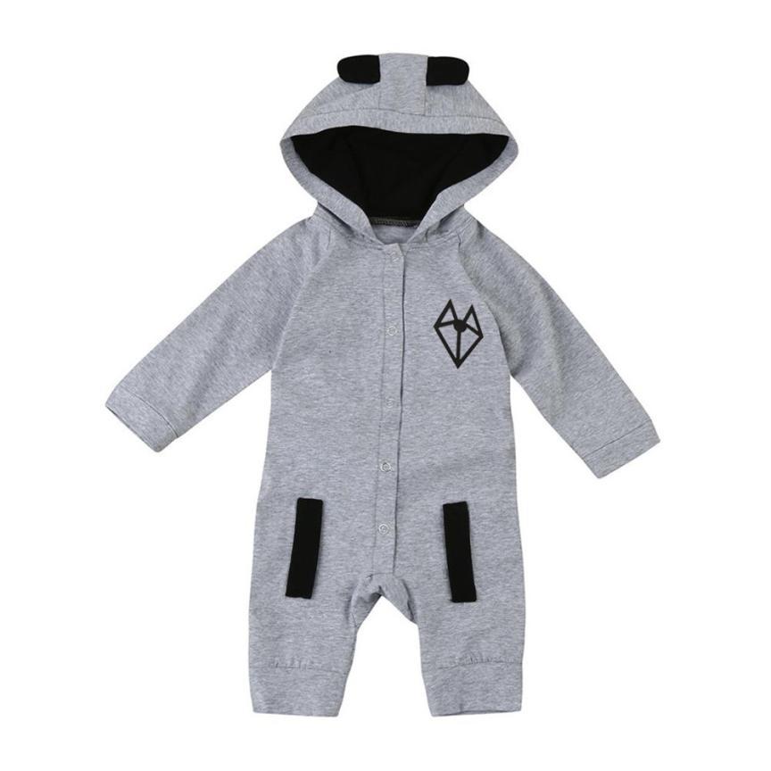 2018 для новорожденных одежда для малышей с длинными рукавами для мальчиков с принтом лисы с капюшоном комбинезон комбинезоны комплект удобн...