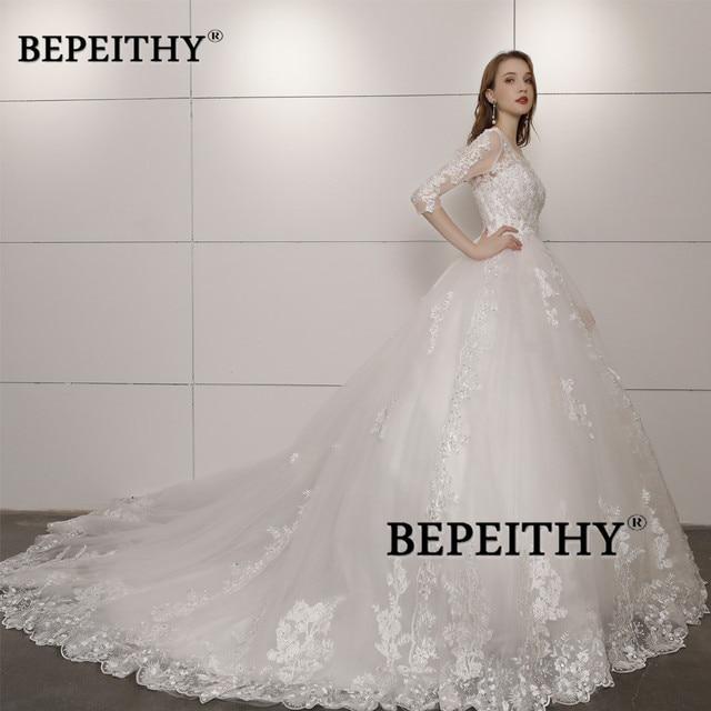 Vestido De Novia Three Quarter Sleeves Lace Wedding Dress 2021 Open Back Vintage Bridal Dresses Ball Gown Hot Sale 4
