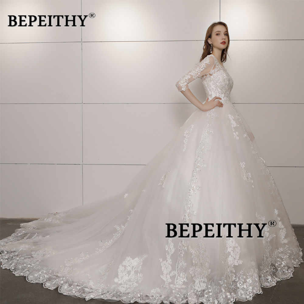 4f747297 ... Vestido De Novia Three Quarter Sleeves Lace Wedding Dress 2019 Open  Back Vintage Bridal Dresses Ball ...