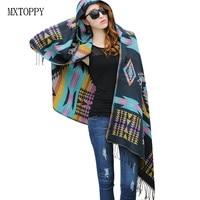 New Fashion Fringe Ethnic Geometric Women Batwing Cape Poncho Knit Top Cardigan Sweater Coat Hip Scarf