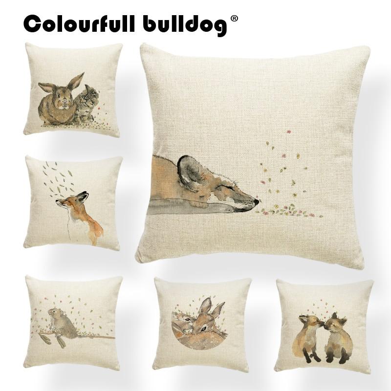 Animal Watercolor Cushion Fox Pillow Cases Nordic Style Anime Lounger Chair Throw Pillows Flower 45X45cm Nap Mat Custom Printed