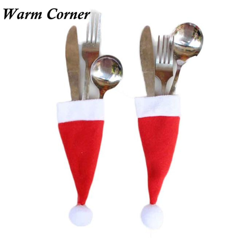 1pc christmas decorative tableware 12 6cm knife fork set christmas hat santa storage tool. Black Bedroom Furniture Sets. Home Design Ideas