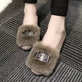 European Famous Brand Shoes Woman Slip On Loafers Female Flats Metal Sequined Suede Leather Flats Shoes Rabbit Fur Creepers