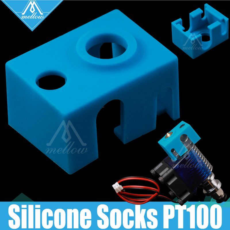 Mellow High Quality Cartridge Heater Block Silicone V6 Socks For 3D Printer Extruder PT100 Sensor Heated RepRap Hotend Nozzle