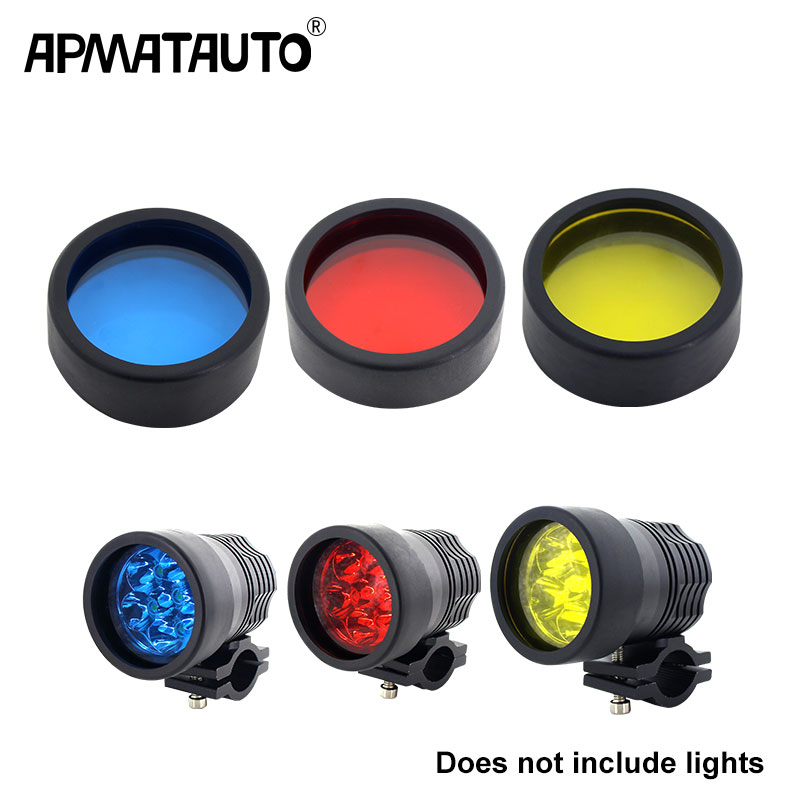 2Pcs Motorcycle headlight Spotlight cover plastic DIY moto light cover 3000k Lamp cover diameter 58mm   60mm  yellow red blue