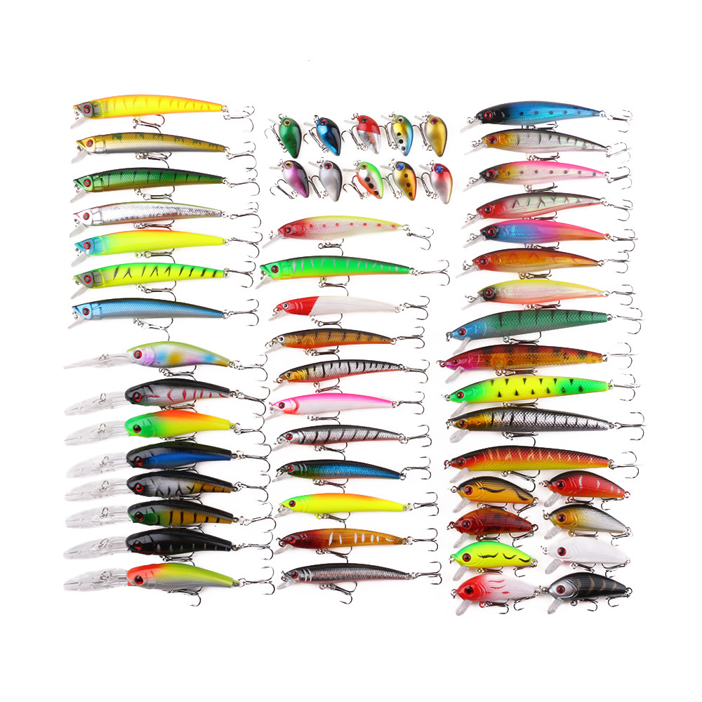 Image 5 - 56pcs/set Fishing Lures Mixed Color Size Hard Bass Baits Artificial Crankbait Treble Hook Trout Tackle Lure Fish Artificial Bait-in Fishing Lures from Sports & Entertainment