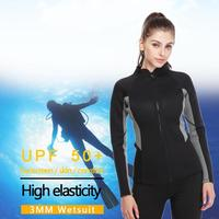 Outdoor 3mm Thick warm Female Wetsuit Long Sleeve Full Body Diving Surfing Wetsuit Winter Summer Swiming Wetsuits